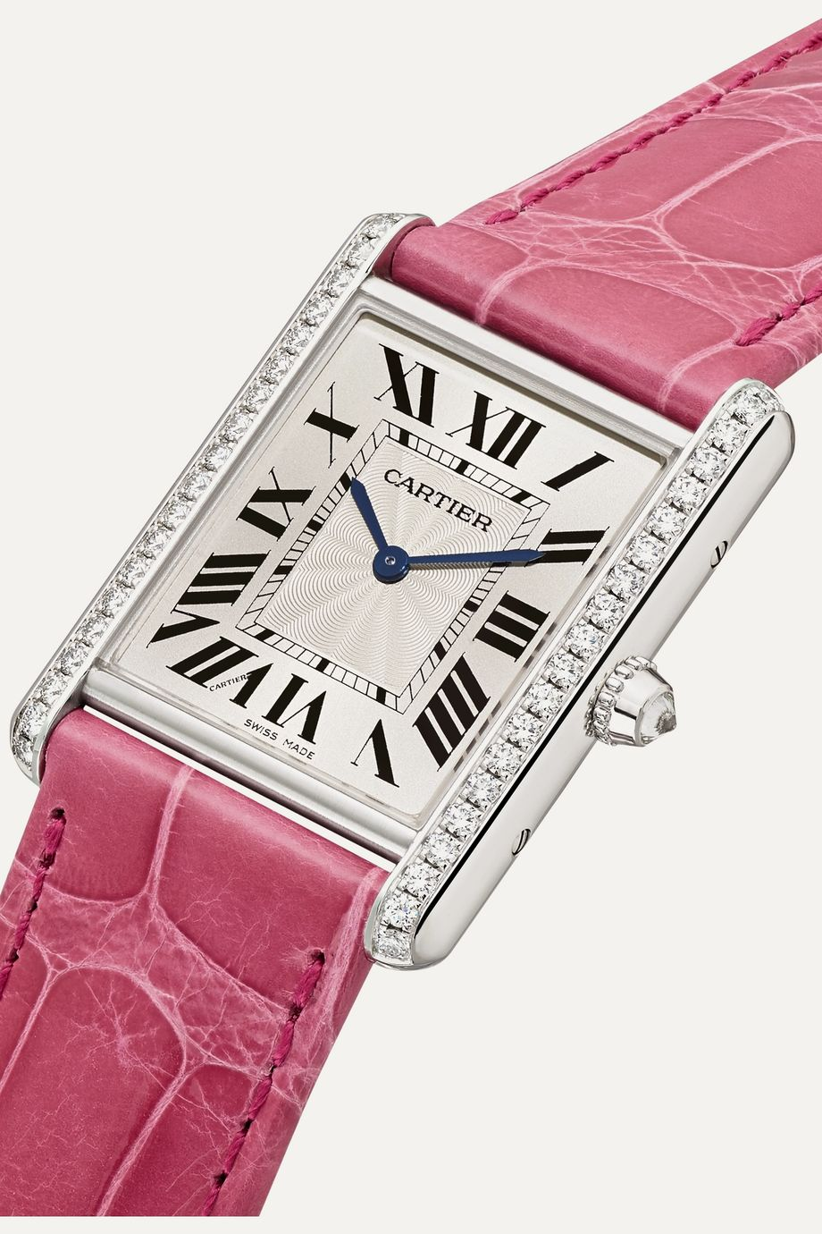 Cartier Tank Louis Cartier 25.5mm large rhodiumized 18-karat white gold, alligator and diamond watch