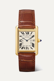 Cartier Tank Louis Cartier 25.5mm large 18-karat gold and alligator watch