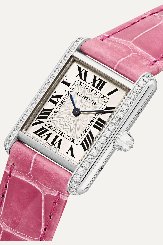 Cartier Tank Louis Cartier 22mm small rhodiumized 18-karat white gold, alligator and diamond watch