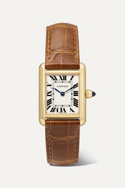 Cartier Montre en or 18 carats et en alligator Tank Louis Cartier Small 22 mm