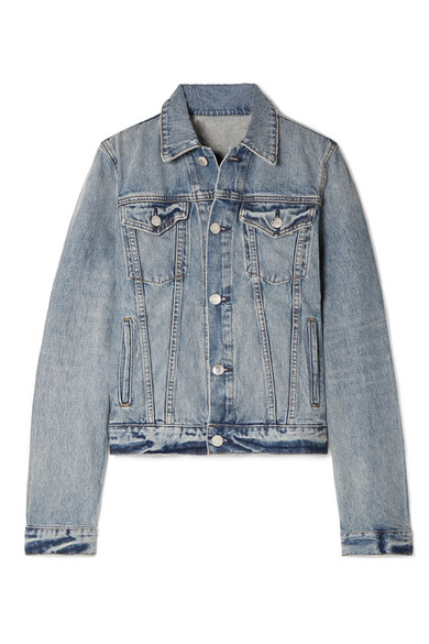 Square Shoulder Denim Jacket, Blue