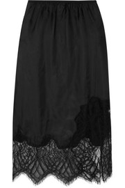 Lace-trimmed satin midi skirt