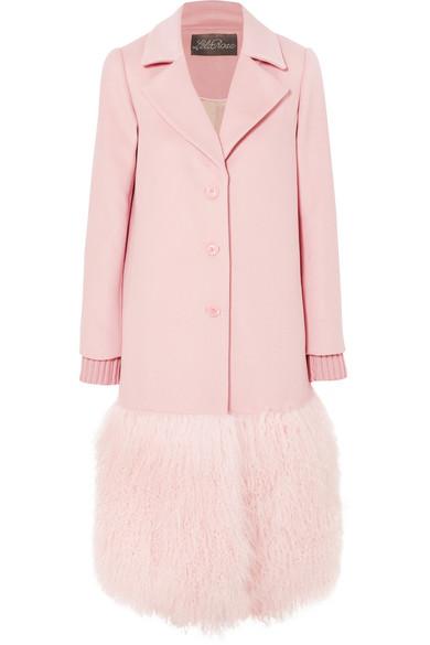Lela Rose - Shearling-trimmed Wool Coat - Pink