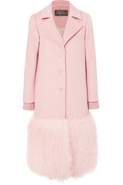 Shearling-trimmed wool coat