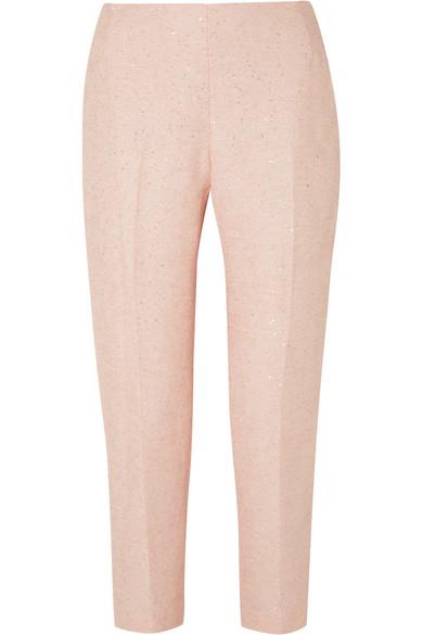 Lela Rose - Sequined Tweed Slim-leg Pants - Pastel pink
