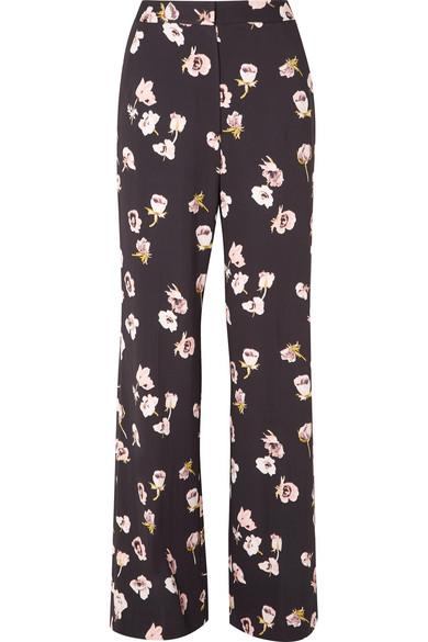 Lela Rose - Maggie Floral-print Crepe Wide-leg Pants - Black