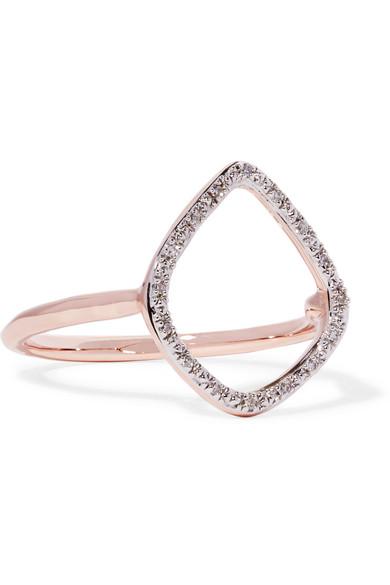 Riva Wave Cross Rose Gold Vermeil Diamond Ring - K Monica Vinader YEnPdTw2y