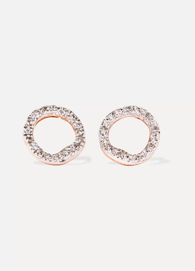 Naida Lotus Rose Gold Vermeil, Quartz And Diamond Earrings - one size Monica Vinader