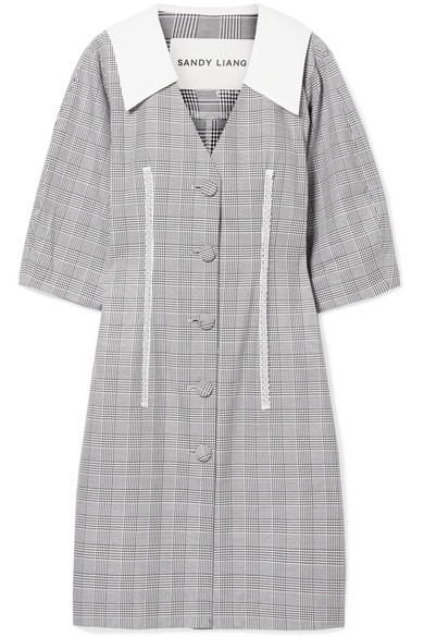 SANDY LIANG Leo Lace-Trimmed Plaid Cotton And Crepe De Chine Dress in Gray