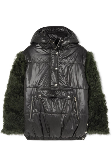 SANDY LIANG Gordo Shearling-Paneled Quilted Shell Jacket in Black