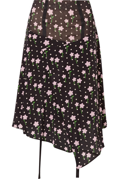 SANDY LIANG Norman Floral-Print Silk Crepe De Chine Skirt in Black