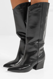 Tibi Logan glossed-leather knee boots
