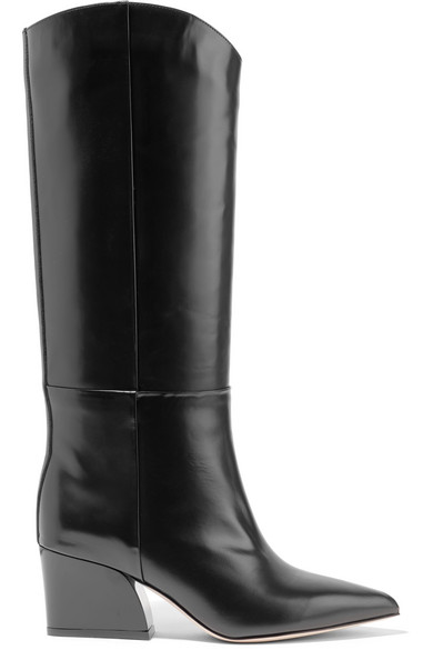 Logan Glossed-Leather Knee Boots, Black