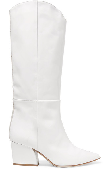 Logan Patent-Leather Knee Boots, White
