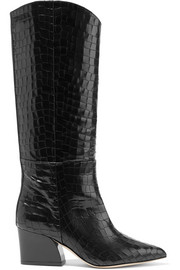 Tibi Logan croc-effect leather knee boots