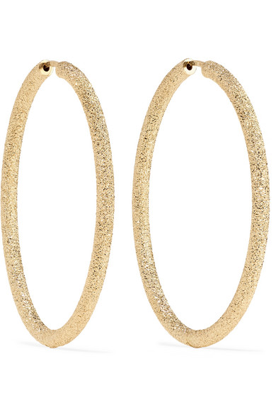 Florentine Finish Large Oval Thick Hoop Earrings, Gold