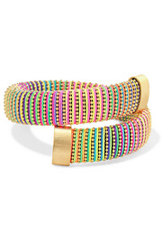 Caro gold-plated and cotton bracelet