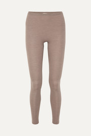 Wool and silk-blend leggings