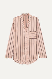 Malie striped satin-piqué pajama top