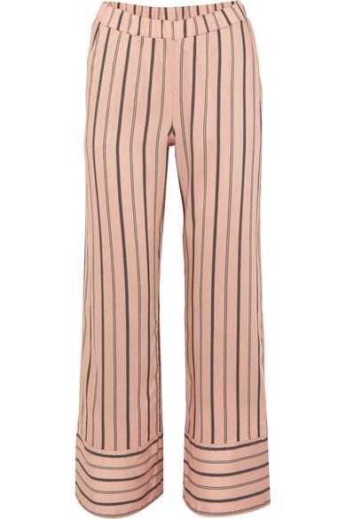 HANRO OF SWITZERLAND | Hanro - Malie Striped Satin-piqué Pajama Pants - Blush | Goxip