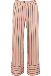 Malie striped satin-piqué pajama pants