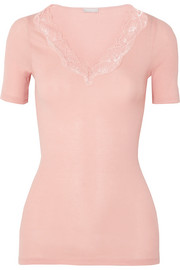 Hanro Lace-trimmed ribbed cotton-jersey top