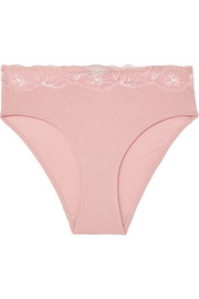 Hanro Lace-trimmed ribbed cotton-jersey briefs
