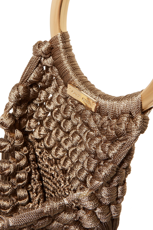 Cult Gaia Angelou small tasseled crochet clutch