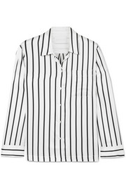 ASCENO Striped silk-satin pajama shirt