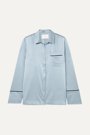 ASCENO Silk-satin pajama shirt