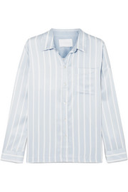ASCENO Striped silk-satin pajama top