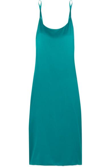 ASCENO - Washed-silk Midi Dress - Turquoise