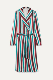 ASCENO Striped washed-silk robe