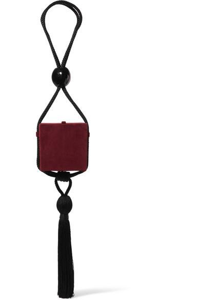 Eva Box Tasseled Suede Clutch, Burgundy