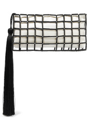 Carolina Santo Domingo Stella tasseled beaded satin clutch
