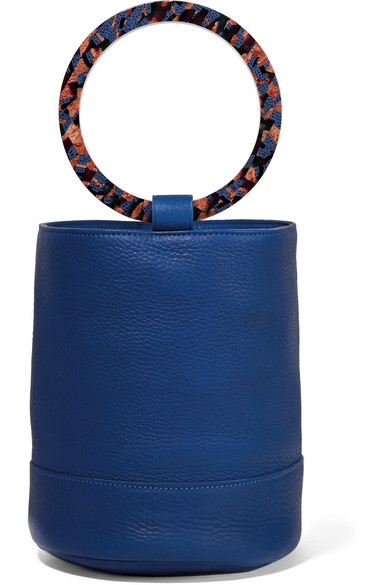 SIMON MILLER - Bonsai 20 Textured-leather Bucket Bag - Cobalt blue