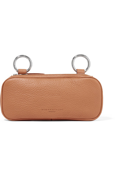 Long Pop Textured-Leather Pouch in Tan