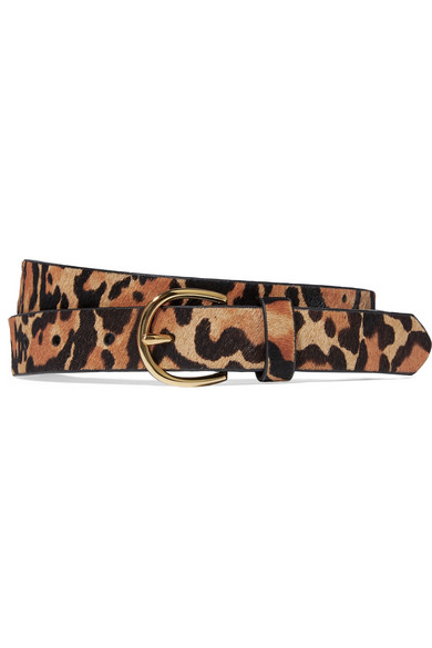 FRAME - Leopard-print Calf Hair Belt - Leopard print