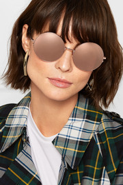 Linda Farrow Oversized round-frame rose gold-tone mirrored sunglasses