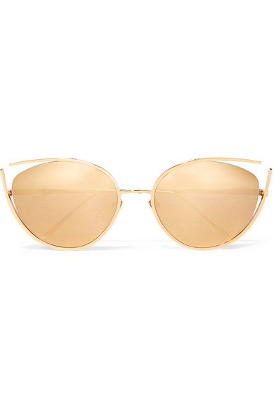 cat-eye-gold-plated-sunglasses by linda-farrow