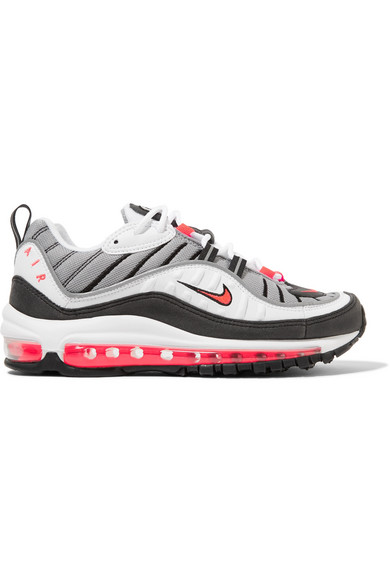 Air Max 98 Leather And Mesh Sneakers, White/ Red/ Dust/ Reflect