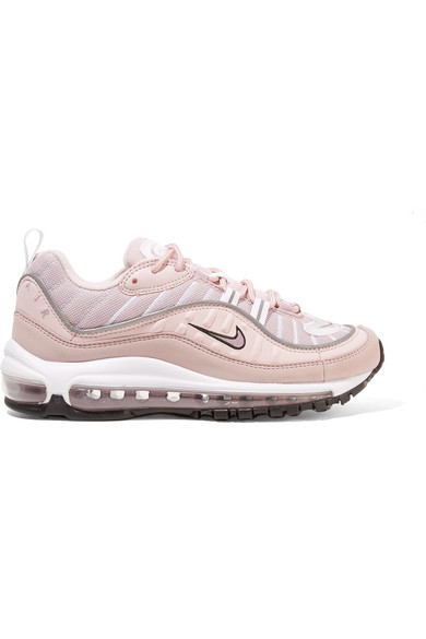 Air Max 98 Leather, Suede And Mesh Sneakers in Antique Rose