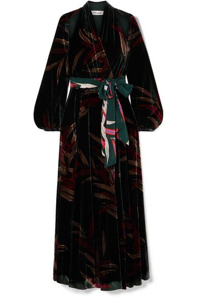 4c42029ec Diane von Furstenberg   Cutout printed velvet wrap maxi dress    NET-A-PORTER.COM