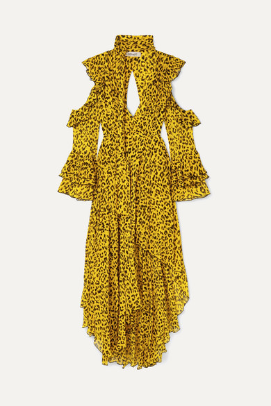ea2c202761 Diane von Furstenberg. Ruffled leopard-print silk-georgette wrap maxi dress