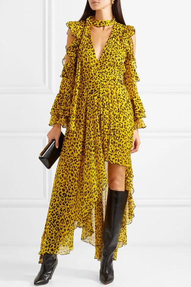 815a1db4c0c0 Diane von Furstenberg. Ruffled leopard-print silk-georgette wrap maxi dress