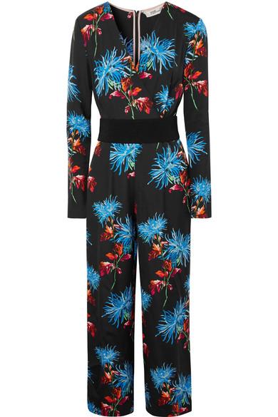 Diane von Furstenberg - Belted Floral-print Crepe Jumpsuit - Black