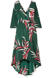 Eloise wrap-effect printed silk crepe de chine midi dress
