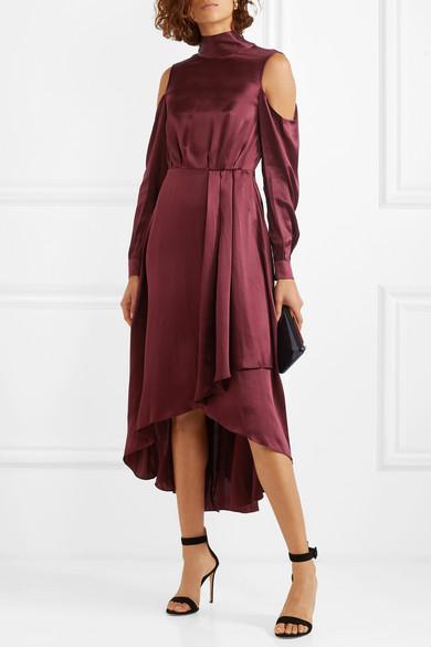 Cold Shoulder Asymmetric Silk Midi Dress by Diane Von Furstenberg