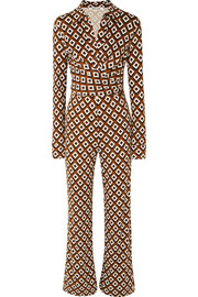 Wrap-effect printed silk-jersey jumpsuit