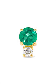 18-karat gold, emerald and diamond earring